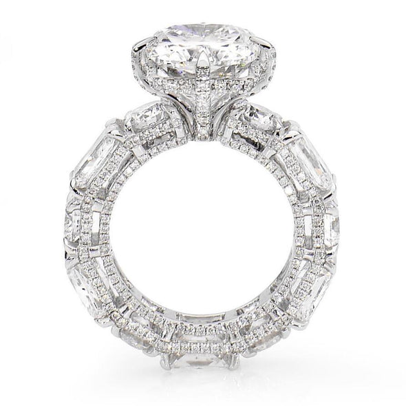 9 CT.T.W Radiant Cut Lab-Created White Sapphire Engagement Ring in Sterling Silver