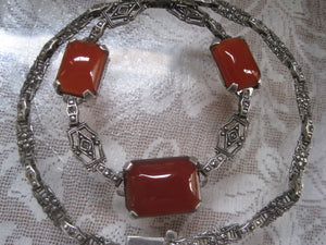 Beautiful Art Deco Carnelian and Marcasite Sterling Silver Necklace 16 inch Chain