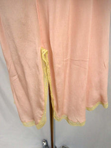 1920s Pink Silk Step-In Teddy Lace Trim Embroidered Silk Leaves Appliques Buttoned Gusset