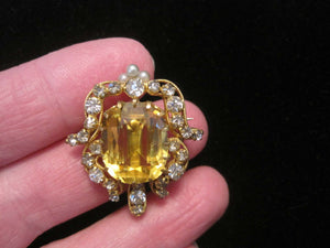 Antique Victorian Edwardian Topaz Seed Pearl Pendant Brooch