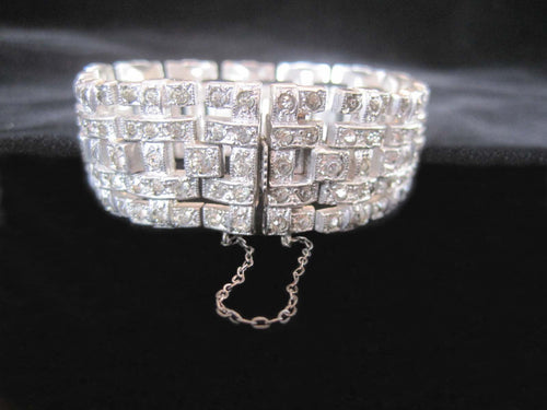 Antique 1920s Art Deco Rhinestone Bracelet Wide Link Chatons Rhodium Plating