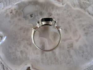 Beautiful Black Onyx Diamond Gold Ring Vintage Onyx Ring 10K White Gold