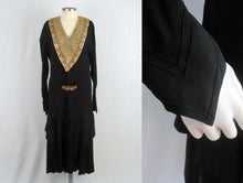 Load image into Gallery viewer, 1920s Black Silk Dress Art Deco Rhinestone Brass Buckle