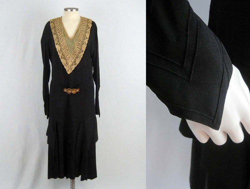 1920s Black Silk Dress Art Deco Rhinestone Brass Buckle