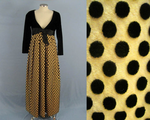 1960s Arnold Scaasi Burnout Velvet Gown Black Polka Dots Long Sleeve