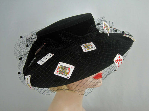 Stunning Custom Made Suzanne Millinery / 1980s Monte Carlo Black Wool Cartwheel Hat / Suzanne New York / 20
