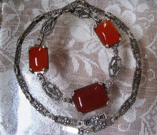 Load image into Gallery viewer, Beautiful Art Deco Carnelian and Marcasite Sterling Silver Necklace 16 inch Chain