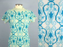 Load image into Gallery viewer, 1960s Mini Dress Laura Aponte Mod Geometric Knit Blue Wool