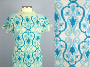 1960s Mini Dress Laura Aponte Mod Geometric Knit Blue Wool