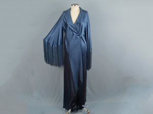 1930s Liquid Silk Satin Dressing Gown Bias Cut Blue Silk Fringed Robe