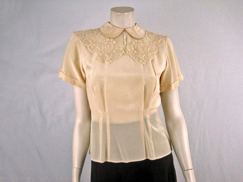 40s Style Beige Silk Blouse Westminster Lace Hong Kong