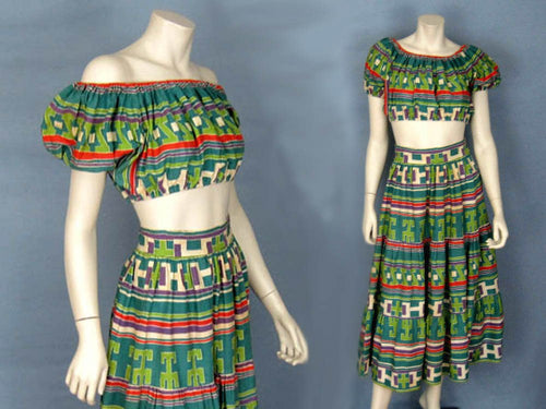 1940s Deadstock Beach Set Skirt Cold Shoulder Crop Top Resort Wear