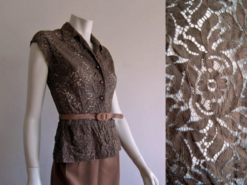 1940s Brown Illusion Lace Blouse L'Aiglon