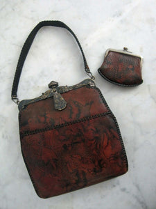 Antique 1918 Handbag & Matching Coin Purse / Art Deco Leather Purse / Dyed Marble Leather / JEMCO Locking Purse Frame Roses Ruby Glass