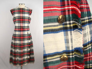 1960s Abe Schrader Plaid Kilt Dress / Small Sleeveless Dress