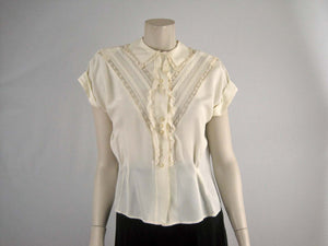50s Beige Lace Blouse / Fashionality by Sidele Large