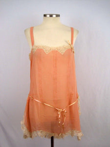 Deadstock 1920s Peach Silk Crepe Step-In Teddy Floral Net Lace Silk Ribbon Flower