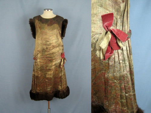 1920s Gold Floral Lame Flapper Dress Brown Mink Fur Trim Close-Up Detail of Pink Velvet Ribbon Trim