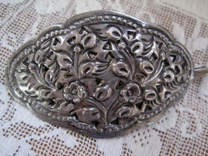 Antique Edwardian Art Nouveau Sterling Silver Hair Clip Barrette Repousse Floral Pattern