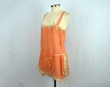 Load image into Gallery viewer, Deadstock 1920s Peach Silk Crepe Step-In Teddy Floral Net Lace Silk Ribbon Flower