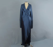 Load image into Gallery viewer, 1930s Art Deco Liquid Silk Satin Dressing Gown Bias Cut Blue Silk Robe High Fashion