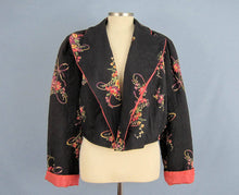Load image into Gallery viewer, 1940s Bed Jacket Floral Print Black Rayon Kamore