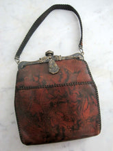 Load image into Gallery viewer, Antique 1918 Handbag & Matching Coin Purse / Art Deco Leather Purse / Dyed Marble Leather / JEMCO Locking Purse Frame Roses Ruby Glass