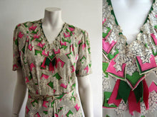 Load image into Gallery viewer, 1940s Onondaga Silk Dress Pink Green Floral Print 2 Piece