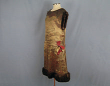 Load image into Gallery viewer, 1920s Gold Floral Lame Flapper Dress Brown Mink Fur and Pink Velvet Ribbon Trim