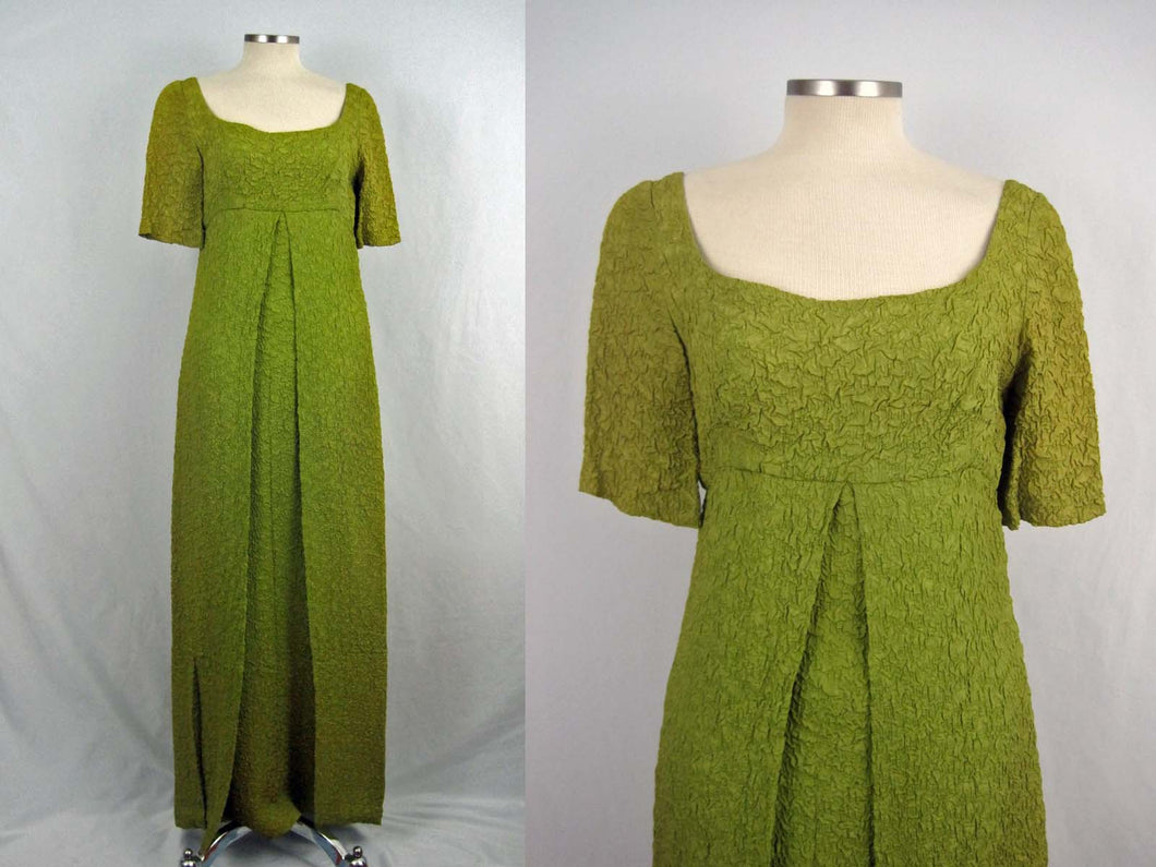 1960s Kiwi Matelassé Empire Maxi Dress