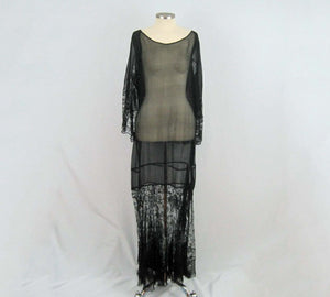 1920s Black Silk Chiffon Gown Chantilly Lace Attached Cape