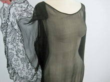 Load image into Gallery viewer, 1920s Black Silk Chiffon Gown Chantilly Lace Attached Cape