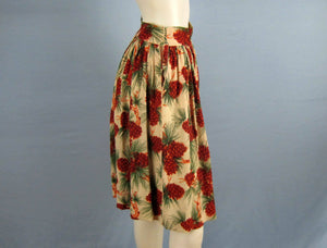 1940s Cabin Skirt Pine Cone Barkcloth Holiday Party Skirt