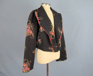 1940s Quilted Bed Jacket Floral Print Black Rayon Kamore