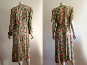 1940s Onondaga Silk Dress Pink Green Floral Print 2 Piece