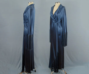 1930s Art Deco Liquid Silk Satin Dressing Gown Bias Cut Blue Silk Robe High Fashion