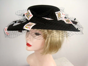 Stunning Custom Made Suzanne Millinery / 1980s Monte Carlo Black Wool Cartwheel Hat / Suzanne New York / 20""