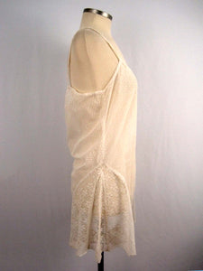 DEADSTOCK 1920s White Swiss Dot Cotton Net Lace and French Cotton Lace Step-In Teddy