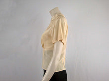 Load image into Gallery viewer, 40s Style Beige Silk Blouse Westminster Lace Hong Kong