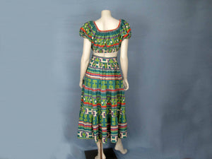 1940s Resort Wear Crop Top & Maxi Skirt Beach Set DEADSTOCK