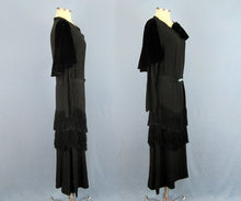 Load image into Gallery viewer, 1920s Black Silk Fringed Flapper Dress Long Sleeve