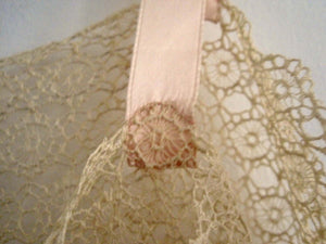 1920s Pink Silk Crepe Step-In Chemise Tenerife Lace Handmade Unworn & UNUSUAL