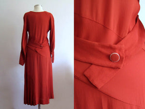 1930s Asymmetrical Paprika Rayon Crepe Dress