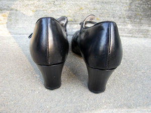 1930s Art Deco Mary Jane Pumps Enna Jettick Peep Toe Shoes Deadstock