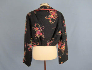 1940s Bed Jacket Quilted Floral Print Black Rayon Kamore