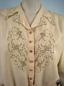 1940s Tailored Silk Blouse Embroidery Pulled Thread Work Chinese Export