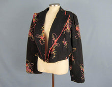 Load image into Gallery viewer, 1940s Bed Jacket Quilted Floral Print Black Rayon Kamore