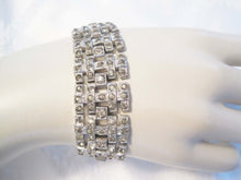 Load image into Gallery viewer, Antique 1920s Art Deco Rhinestone Bracelet Wide Link Chatons Rhodium Plating