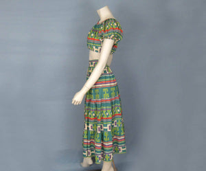 1940s Resort Wear Crop Top & Maxi Skirt Mexico DEADSTOCK
