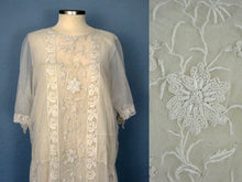 Load image into Gallery viewer, 1920s Embroidered White Silk Net Lace Wedding Dress